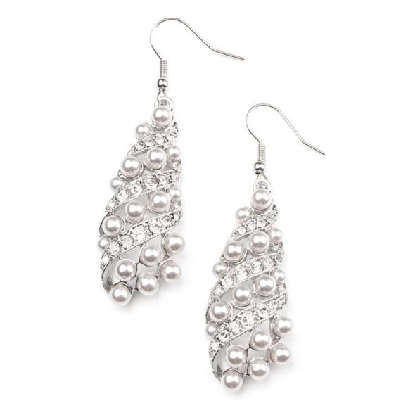Fancy Silver Pearl & Rhinestone Teardrop Earrings